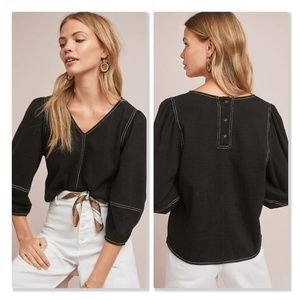 Anthro Current Air Cream Delilah Structured Top
